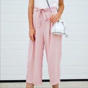 Zara pink tie waist pants